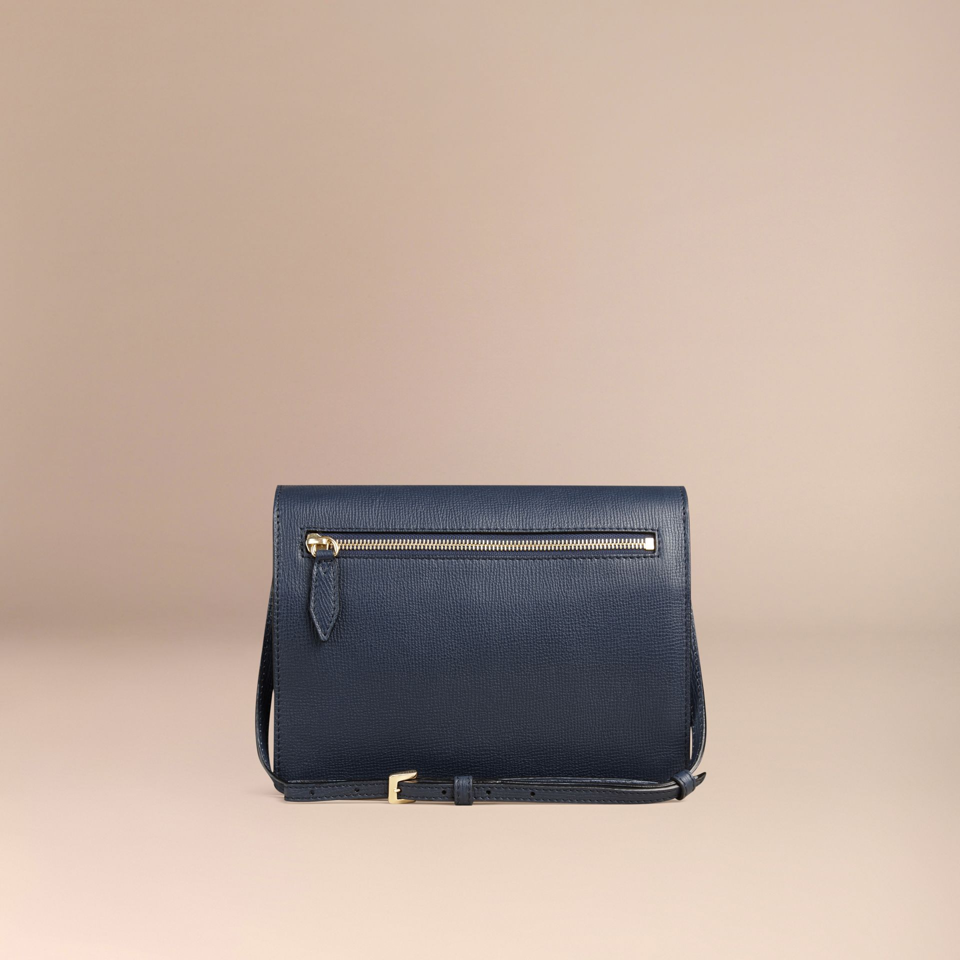 Small Leather and House Check Crossbody Bag in Ink Blue - gallery image 4