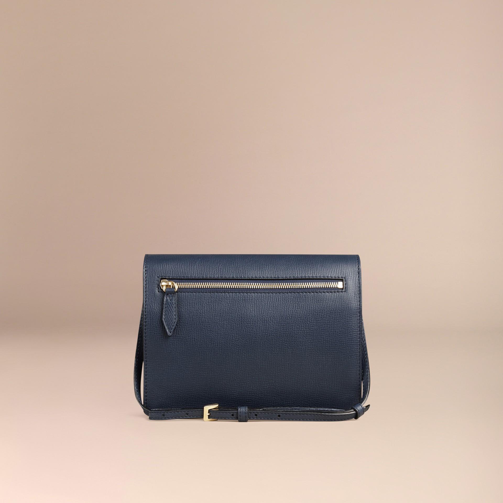 Tintenblau Kleine Crossbody-Tasche aus Leder und House Check-Gewebe Tintenblau - Galerie-Bild 4