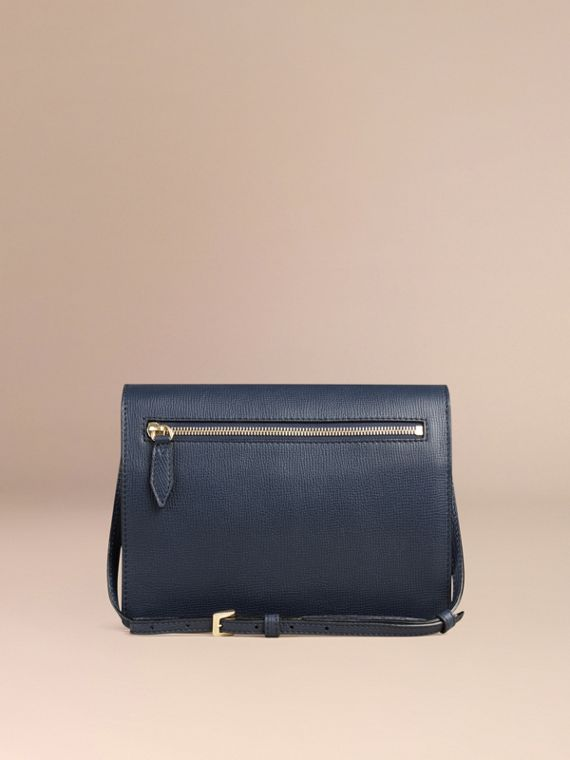 Small Leather and House Check Crossbody Bag in Ink Blue - cell image 3