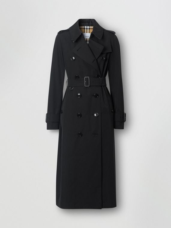 Tropical Gabardine Trench Coat in Black