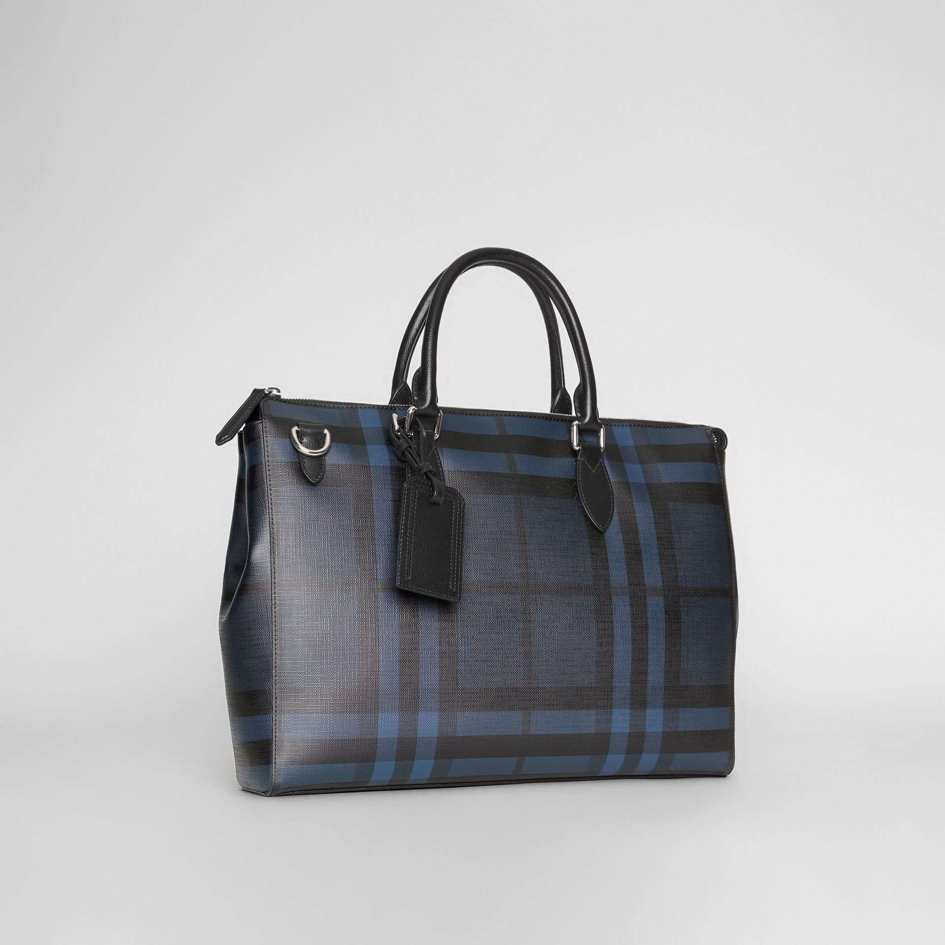 Large London Check Briefcase in Navy/black - Men | Burberry Singapore - gallery image 6
