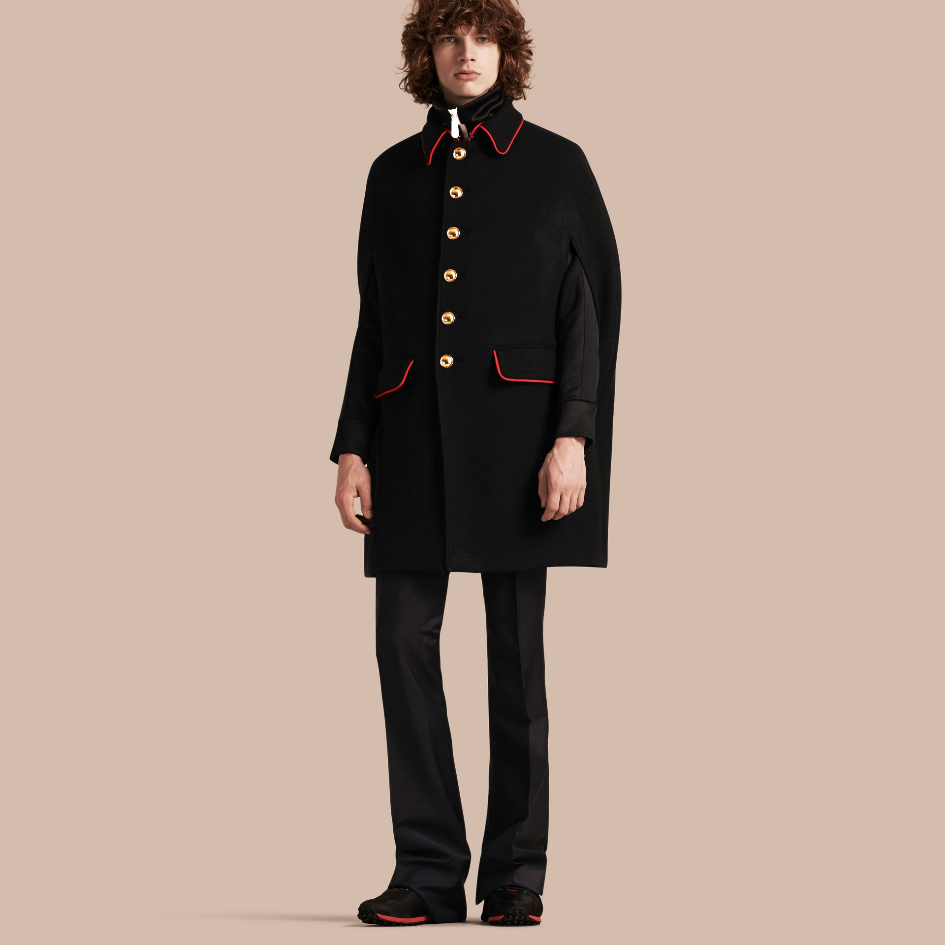 Black Wool Cashmere Blend Military Cape Coat - gallery image 1