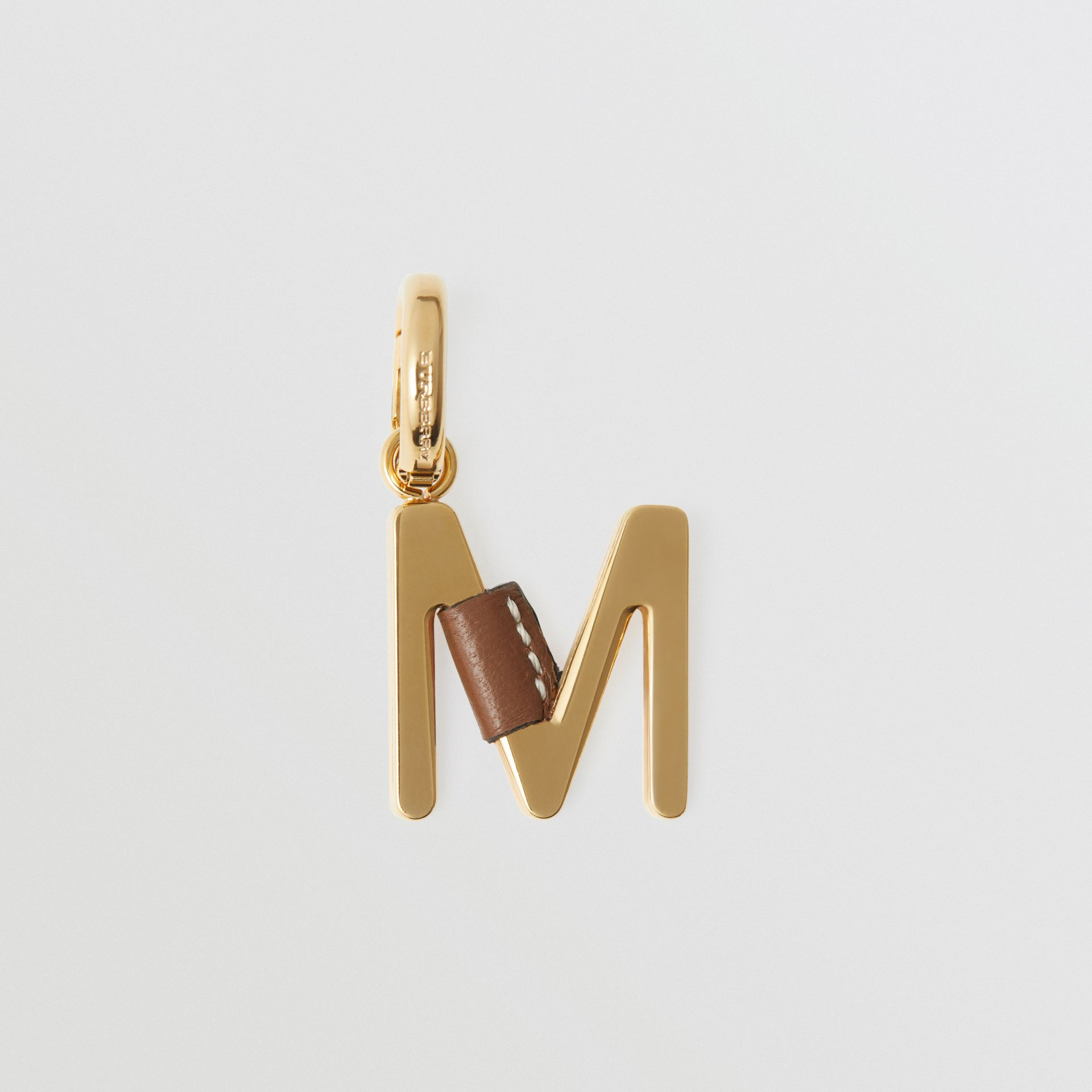 Leather-wrapped 'M' Alphabet Charm in Light Gold/tan - Women | Burberry - gallery image 0