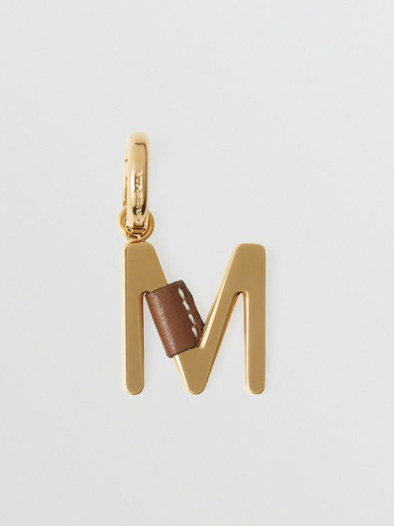 Leather-wrapped 'M' Alphabet Charm in Light Gold/tan