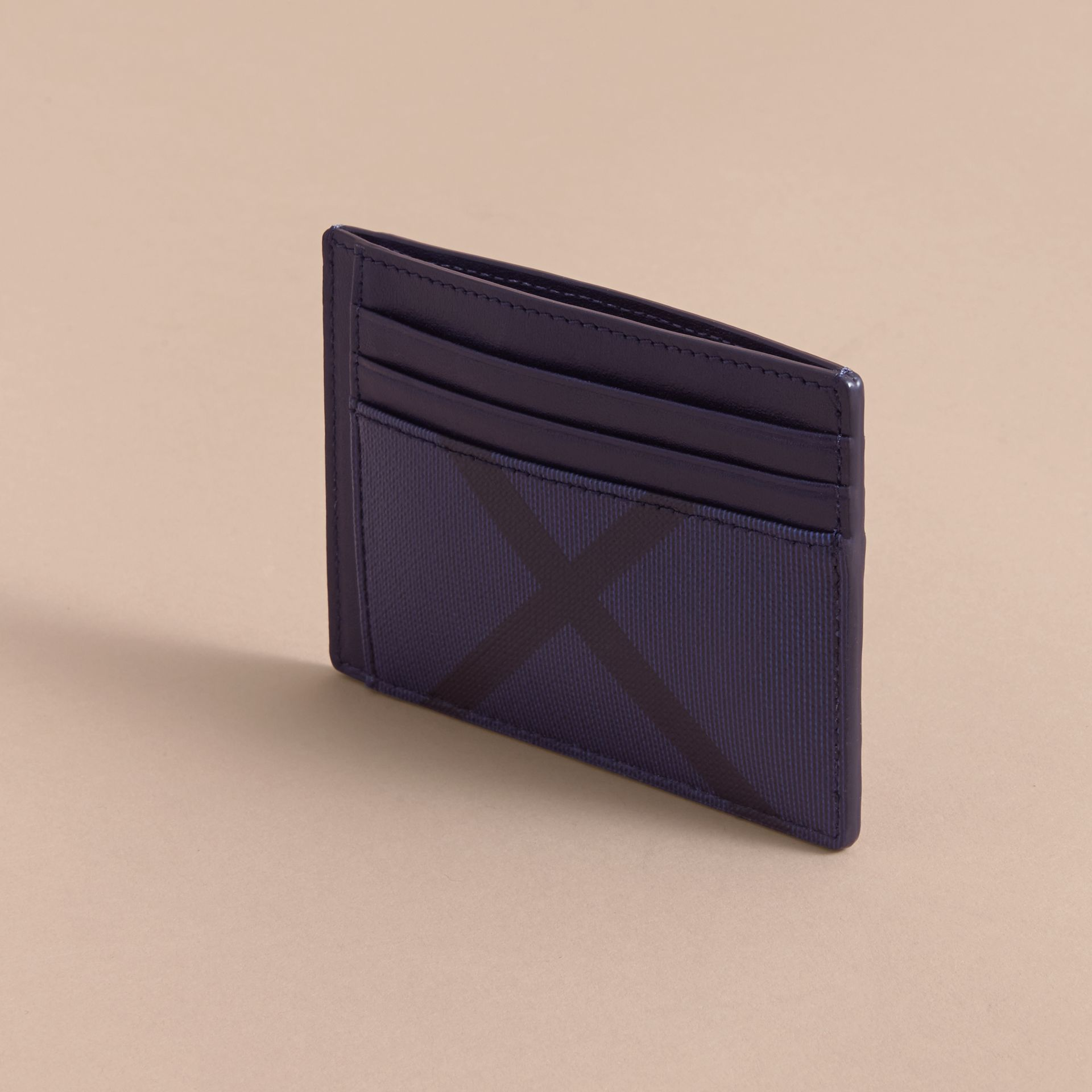 London Check Card Case in Bright Lapis - Men | Burberry - gallery image 3