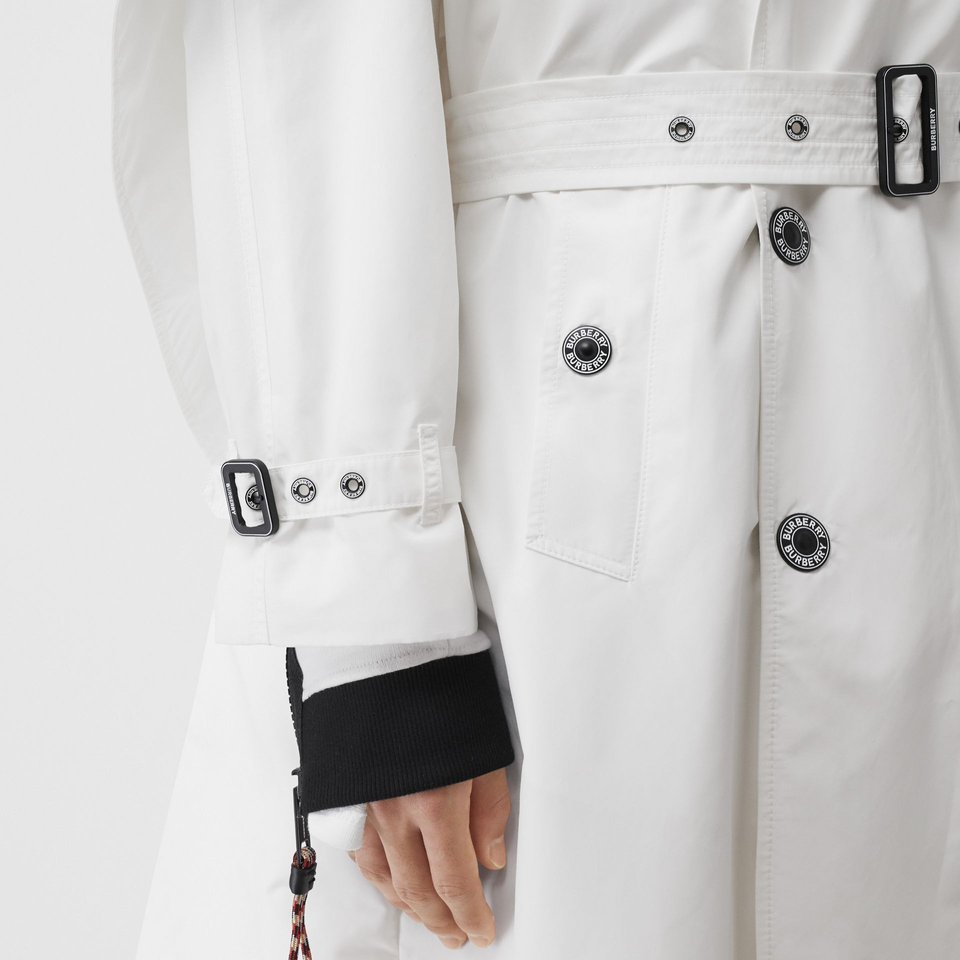 Cape Detail Technical Faille Reconstructed Trench Coat in Optic White - Men | Burberry - gallery image 4