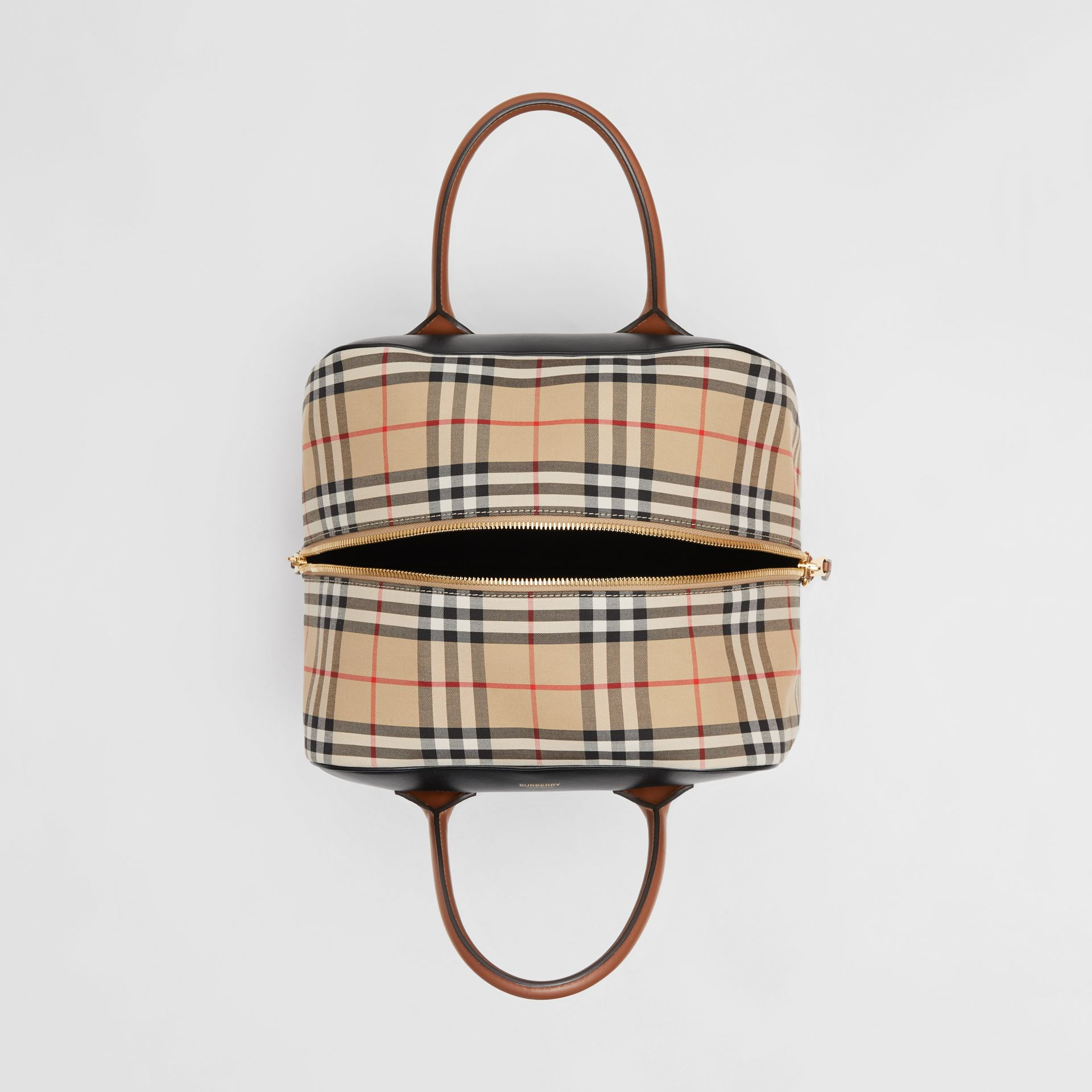 Medium Leather and Vintage Check Cube Bag in Archive Beige - Women | Burberry - gallery image 4