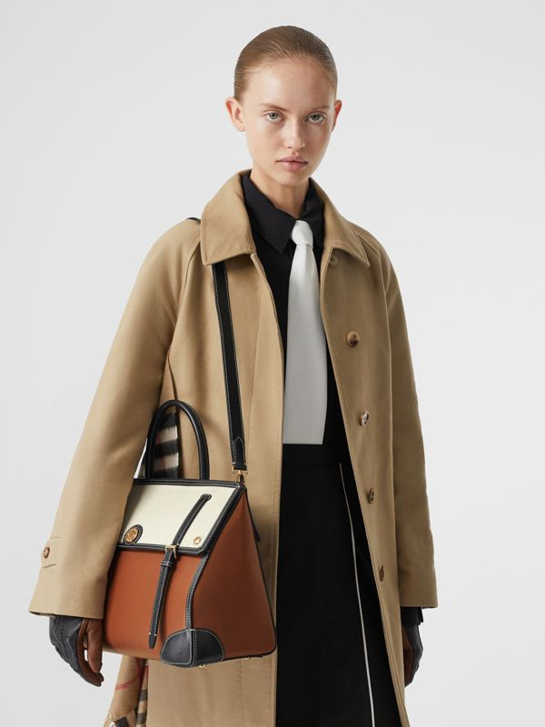 Medium Leather and Cotton Canvas Elizabeth Bag in Tan - Women | Burberry - cell image 2
