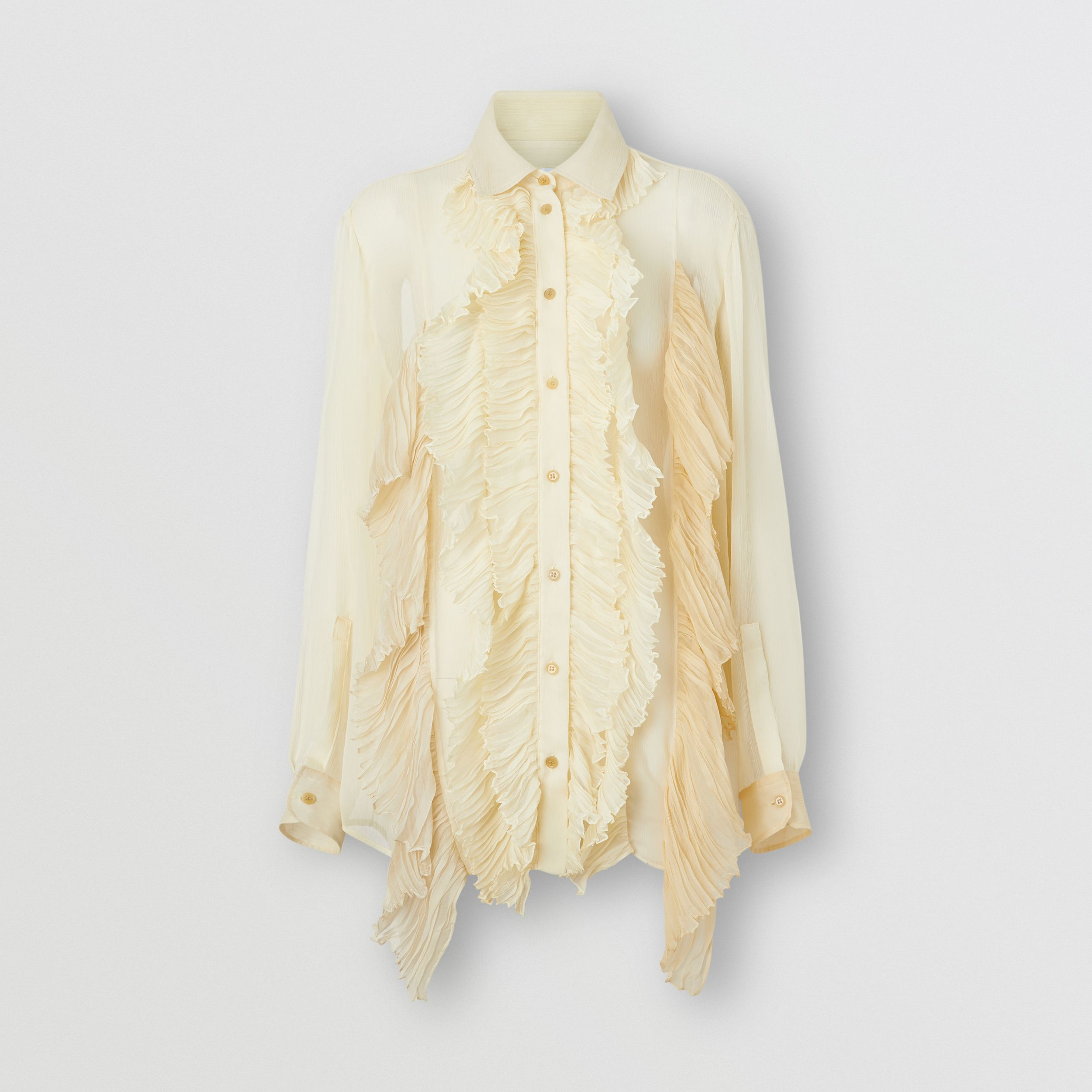 Ruffle Detail Crepe De Chine Oversized Blouse in Light Oatmeal - Women | Burberry - 4