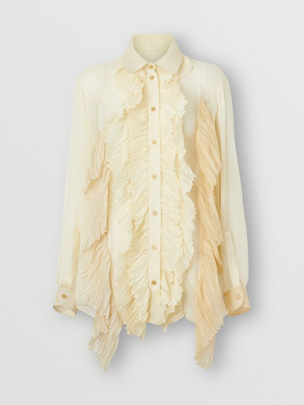 Ruffle Detail Crepe De Chine Oversized Blouse in Light Oatmeal - Women | Burberry - cell image 3