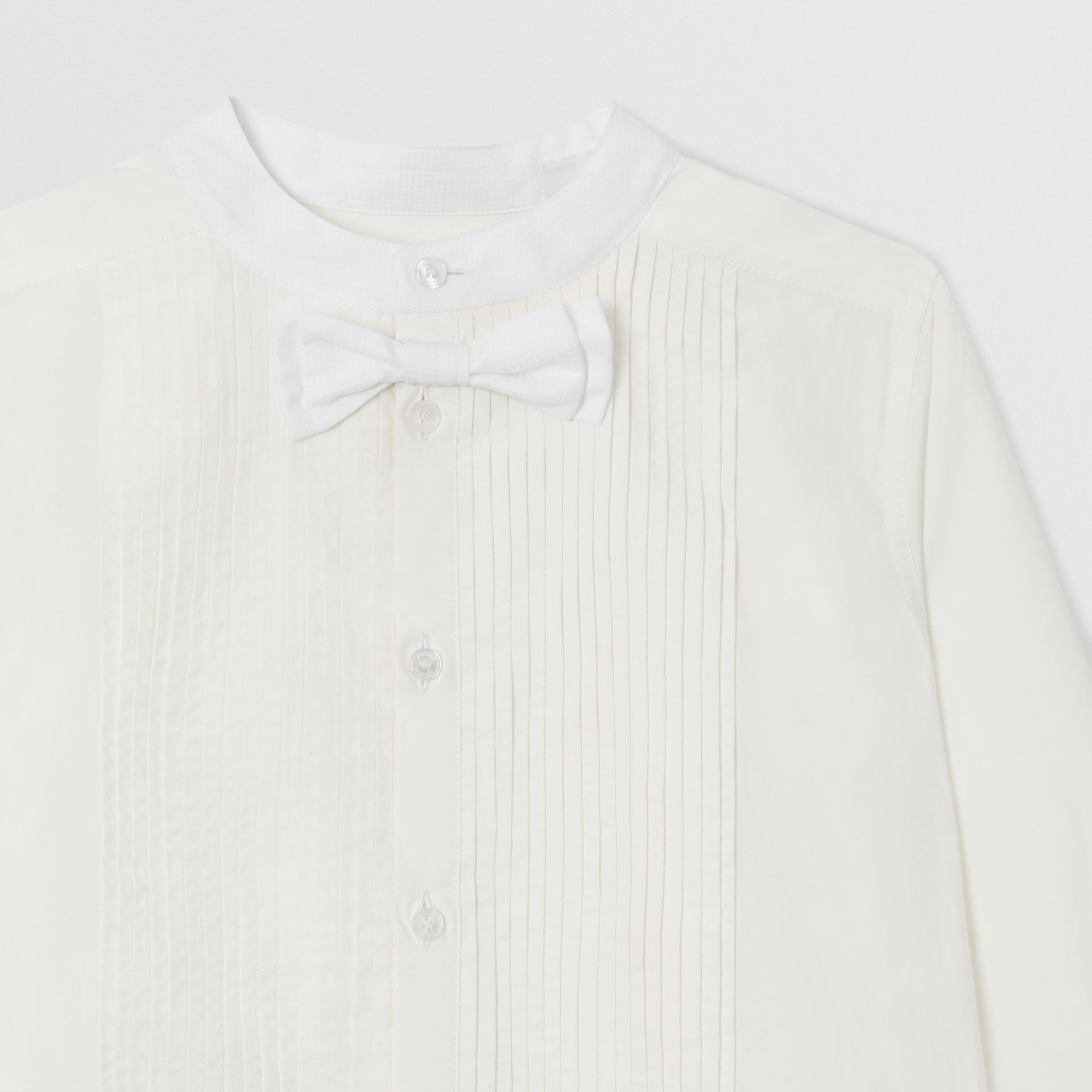 Bow Tie Detail Stretch Cotton Poplin Shirt in White | Burberry - gallery image 4