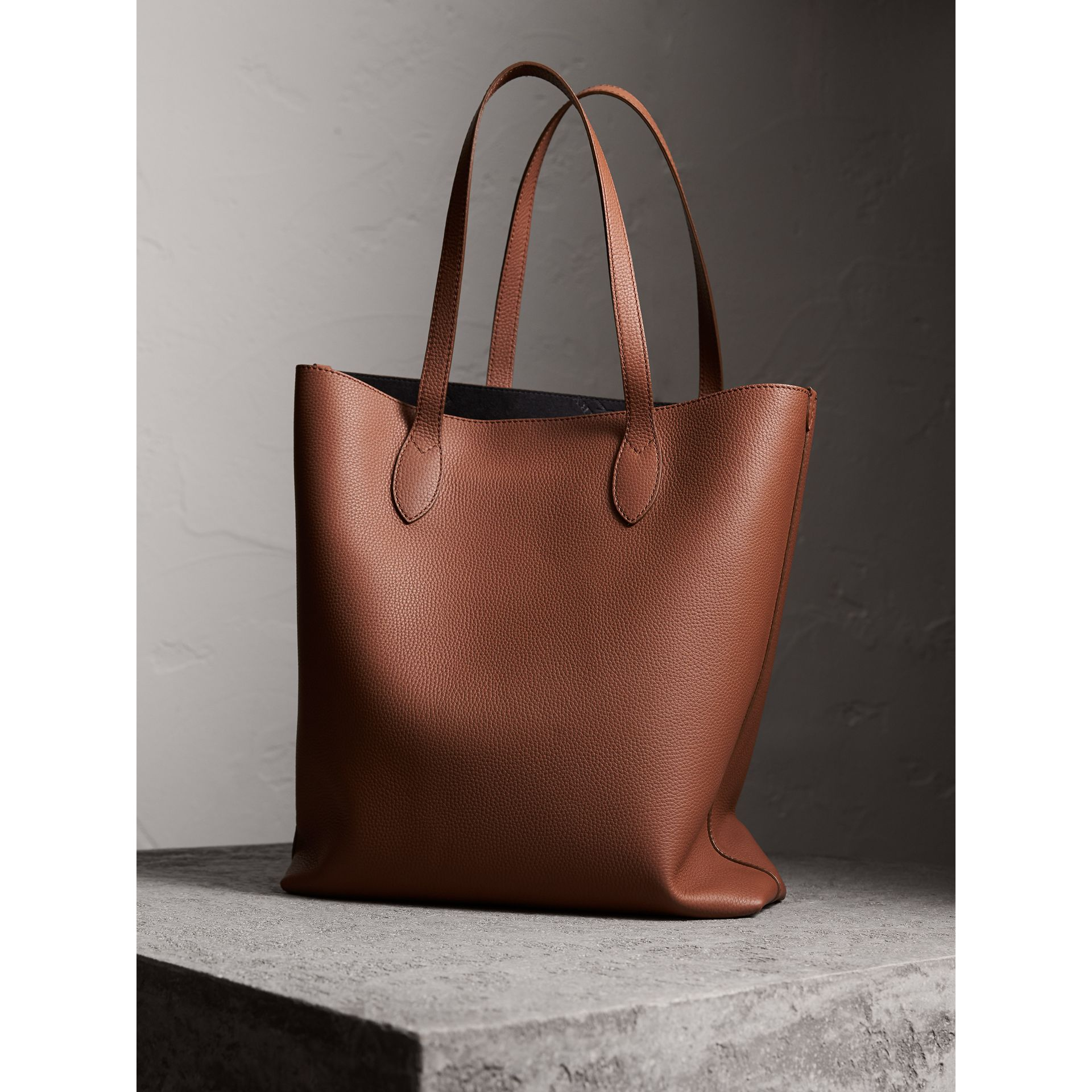 Embossed Leather Tote in Chestnut Brown | Burberry Australia - gallery image 4