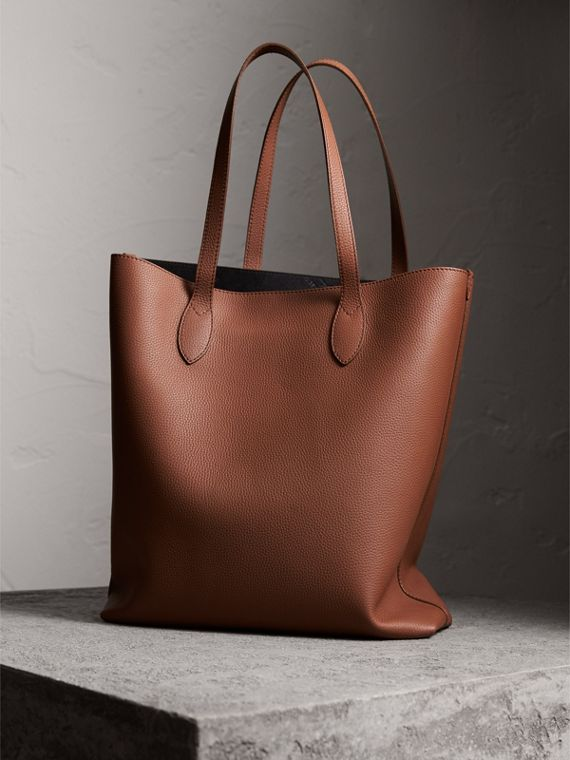 Medium Embossed Leather Tote in Chestnut Brown | Burberry - cell image 3