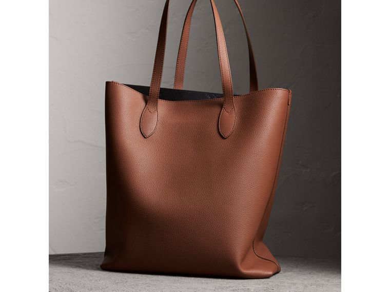 Embossed Leather Tote in Chestnut Brown | Burberry Australia - cell image 4