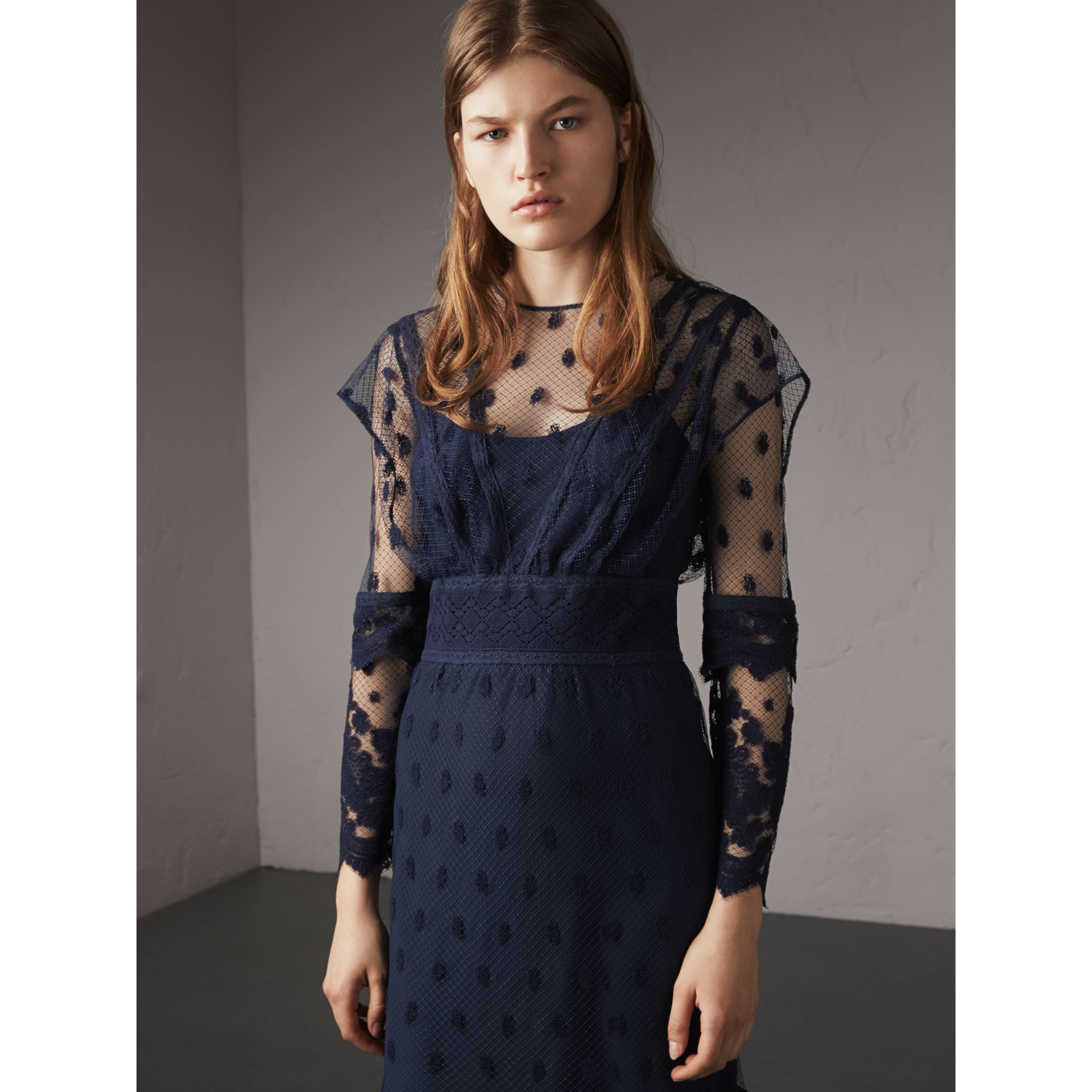 Embroidered Tulle Panel Dress in Navy - Women | Burberry Singapore - gallery image 6