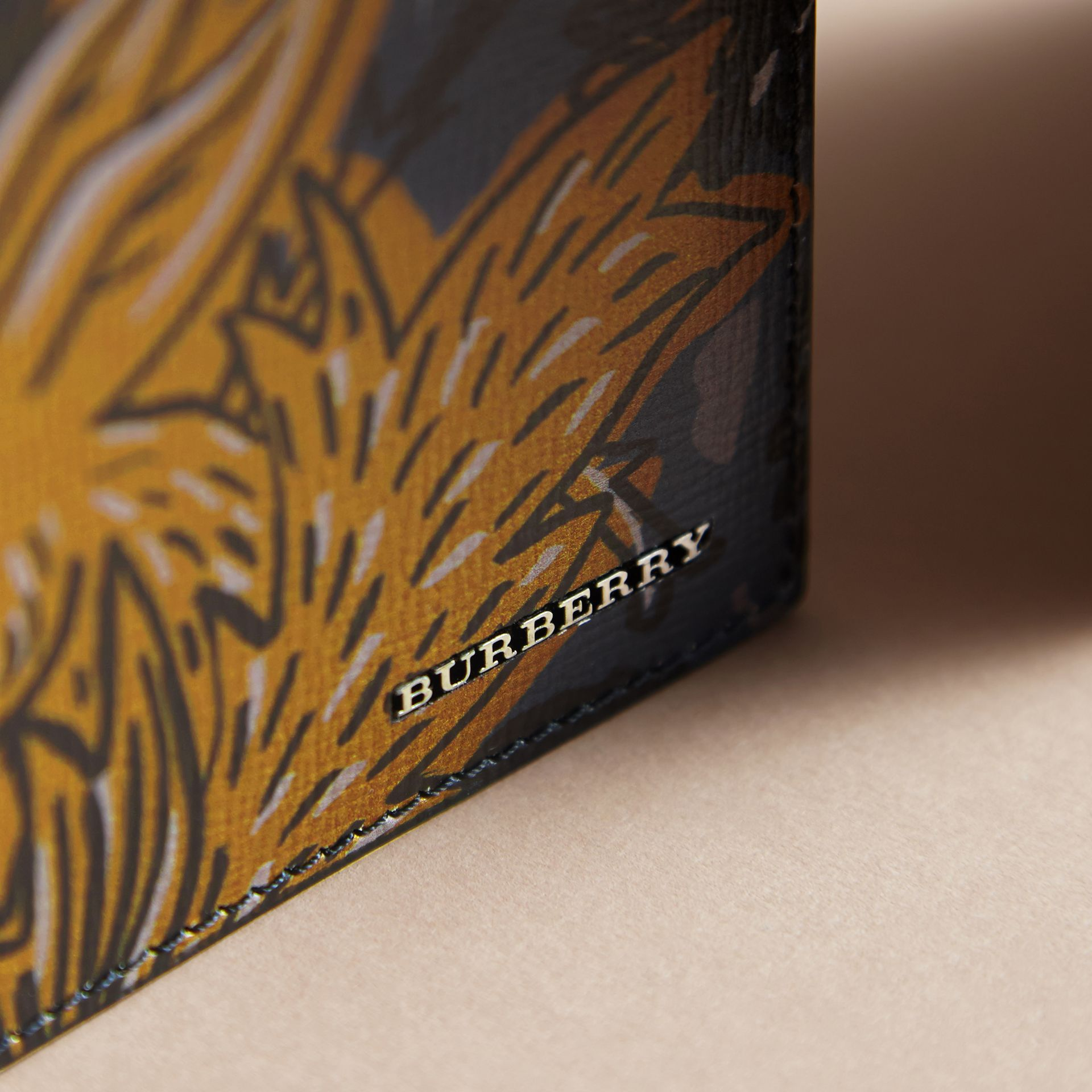 Beasts Print Leather Folding Wallet in Navy Grey - Men | Burberry - gallery image 2