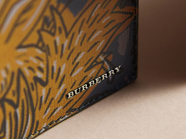Beasts Print Leather Folding Wallet in Navy Grey - Men | Burberry - cell image 1