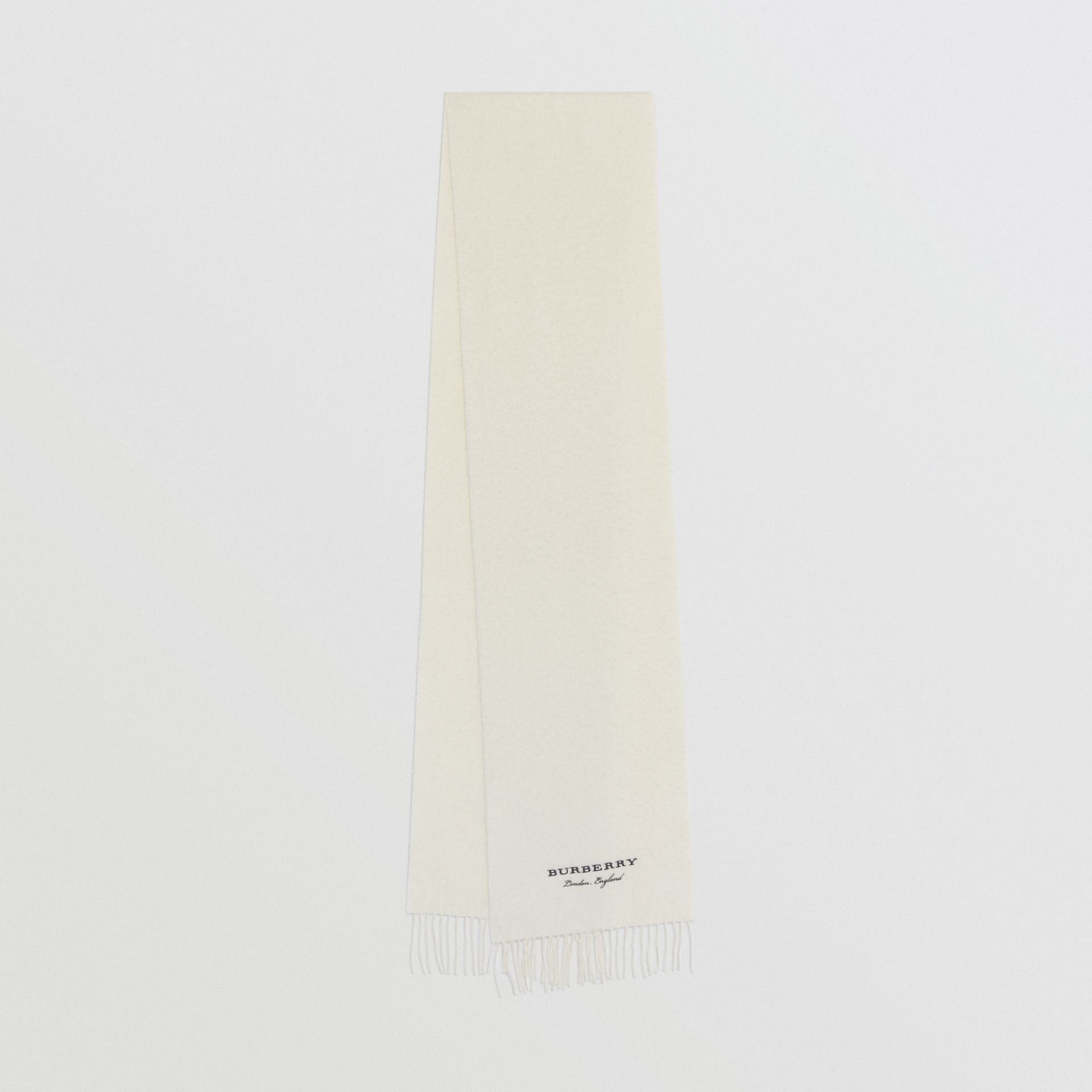 Embroidered Cashmere Fleece Scarf in Ivory | Burberry United Kingdom - gallery image 0