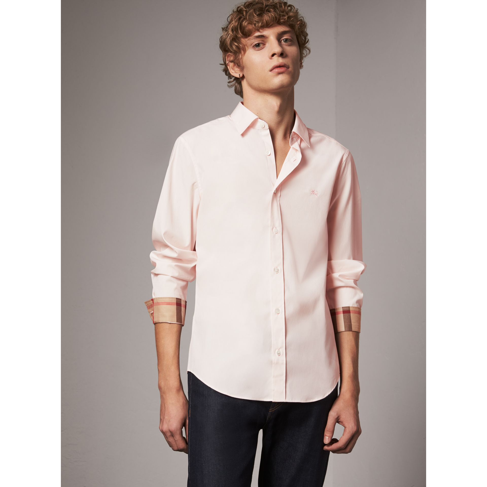 Check Detail Stretch Cotton Poplin Shirt in Pale Pink - Men | Burberry - gallery image 0