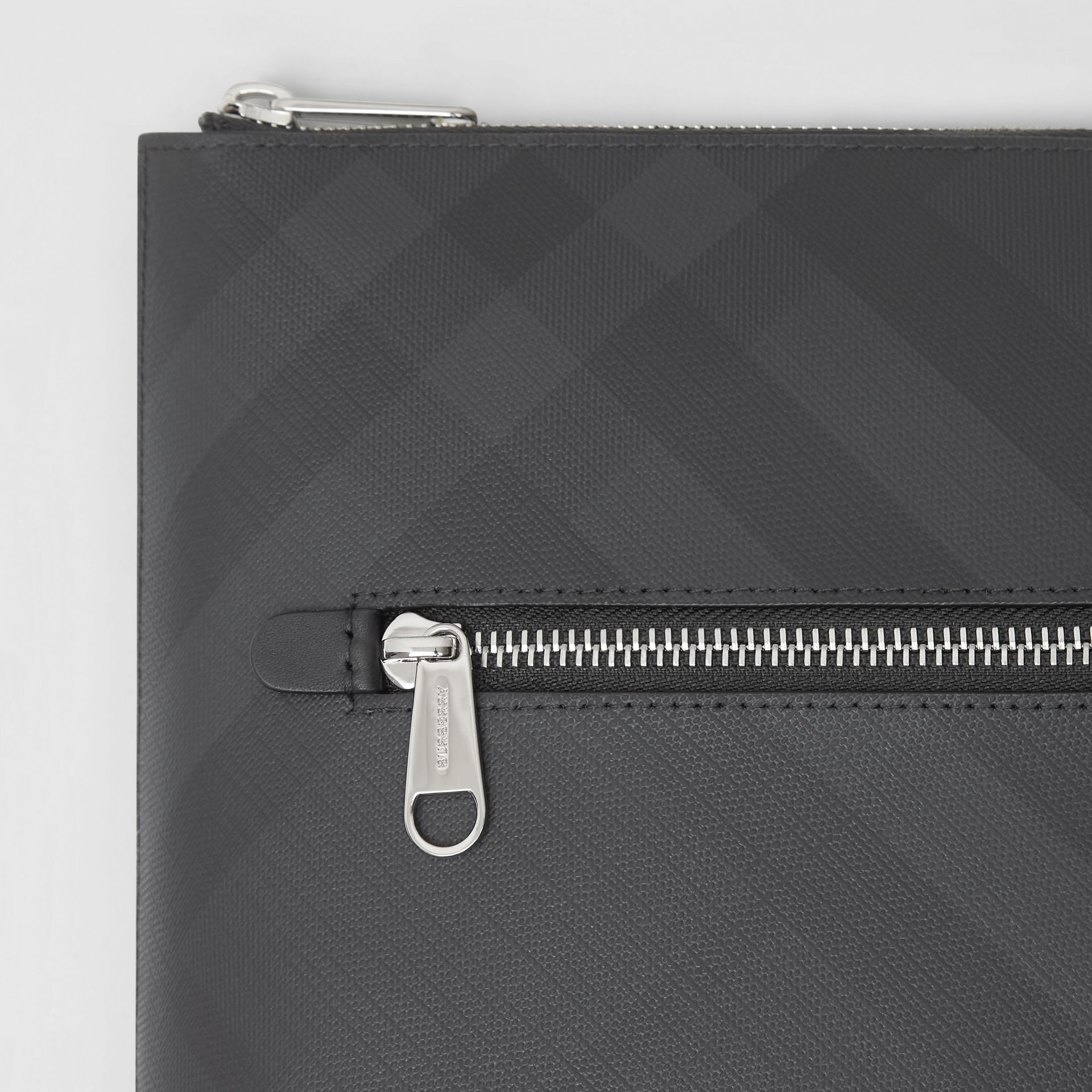 London Check Zip Pouch in Dark Charcoal | Burberry - gallery image 1