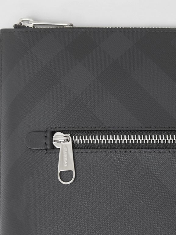 London Check Zip Pouch in Dark Charcoal - Men | Burberry United States - cell image 1