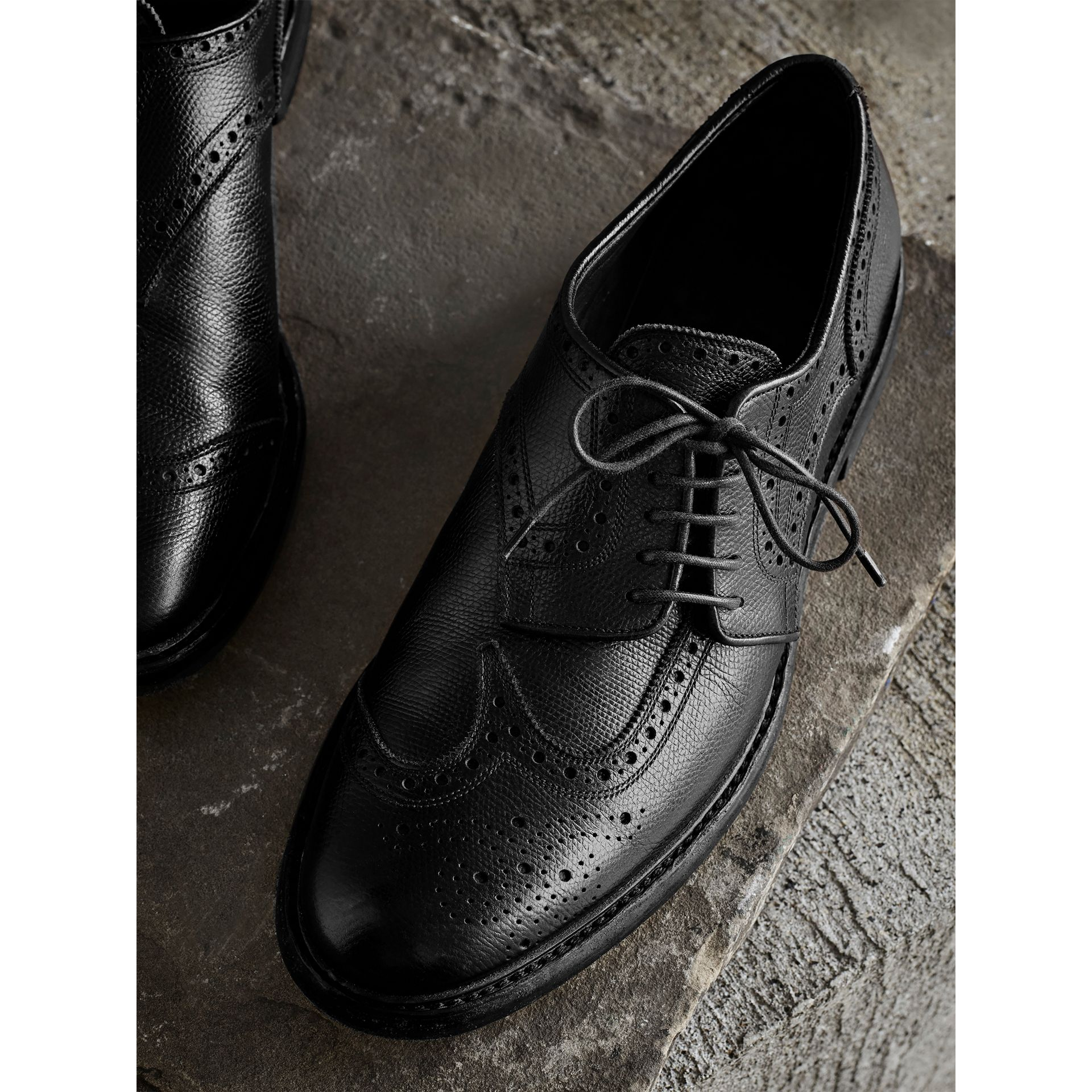 Leather Brogues with Asymmetric Closure Black - gallery image 1