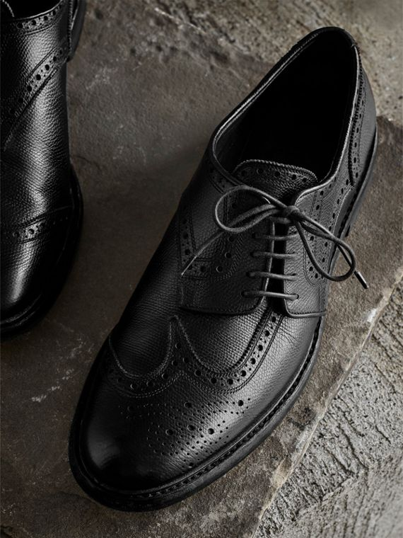 Leather Brogues with Asymmetric Closure in Black - Men | Burberry Singapore