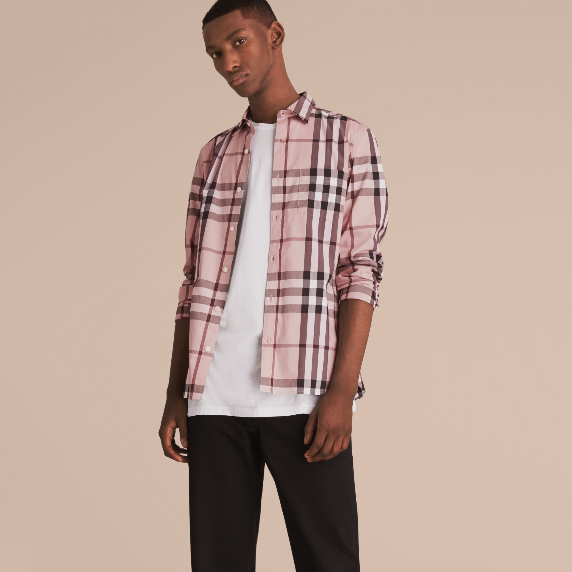 Check Stretch Cotton Shirt in Chalk Pink - Men | Burberry - gallery image 6