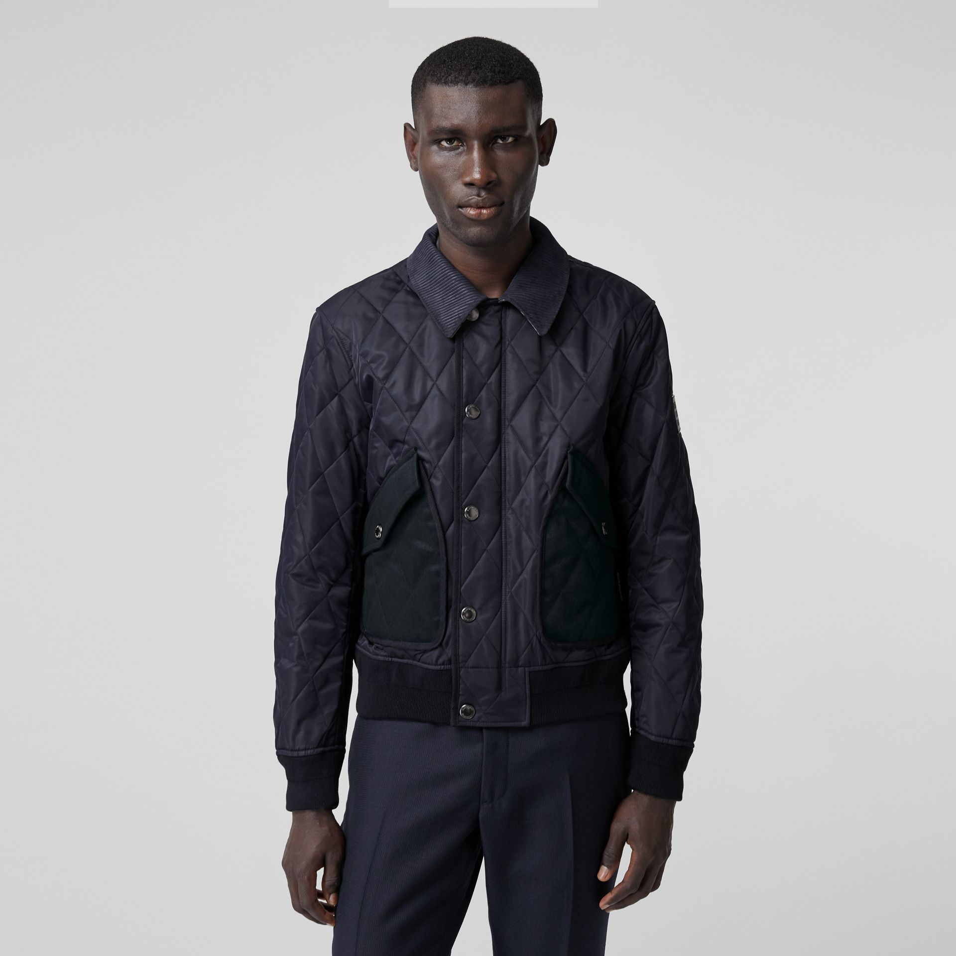 Diamond Quilted Thermoregulated Jacket in Navy - Men | Burberry - gallery image 6