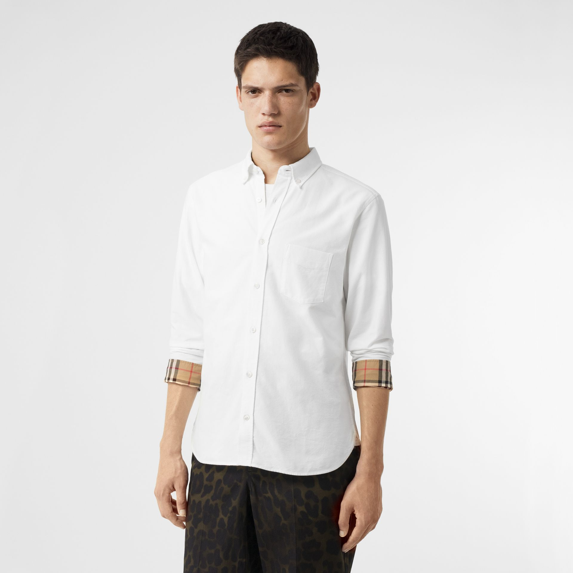 Check Cuff Cotton Oxford Shirt in White - Men | Burberry Singapore - gallery image 3