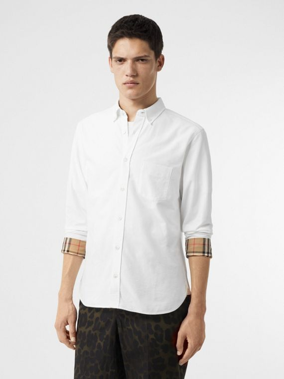 Check Cuff Cotton Oxford Shirt in White