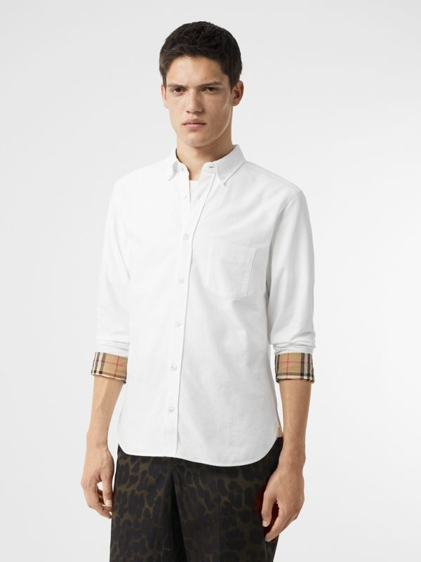 Check Cuff Cotton Oxford Shirt in White - Men | Burberry Singapore - cell image 3