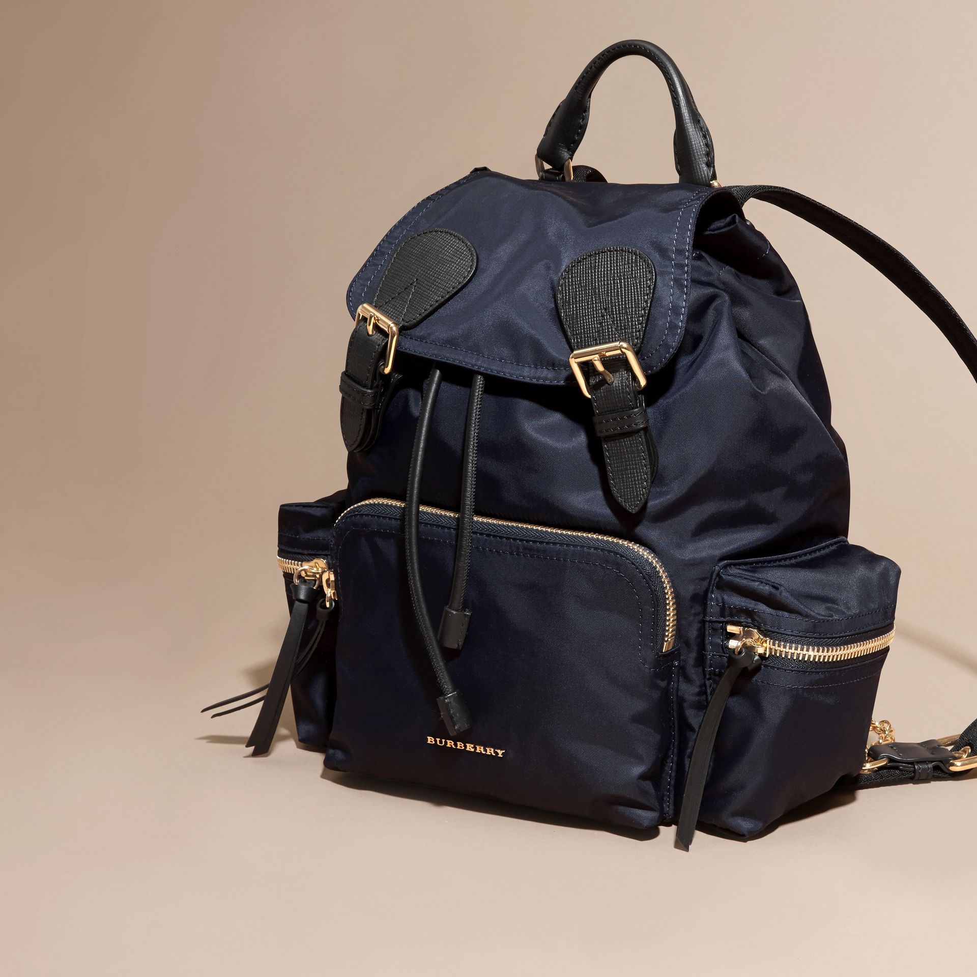The Medium Rucksack in Technical Nylon and Leather in Ink Blue - gallery image 7