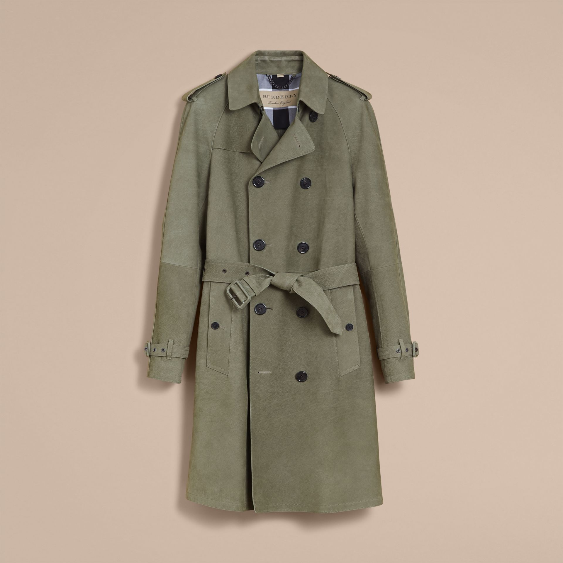 Lightweight Grainy Nubuck Trench Coat in Khaki Green - Men | Burberry - gallery image 4