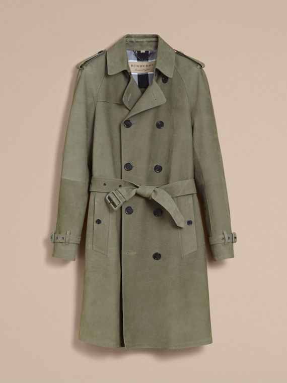 Lightweight Grainy Nubuck Trench Coat in Khaki Green - Men | Burberry - cell image 3