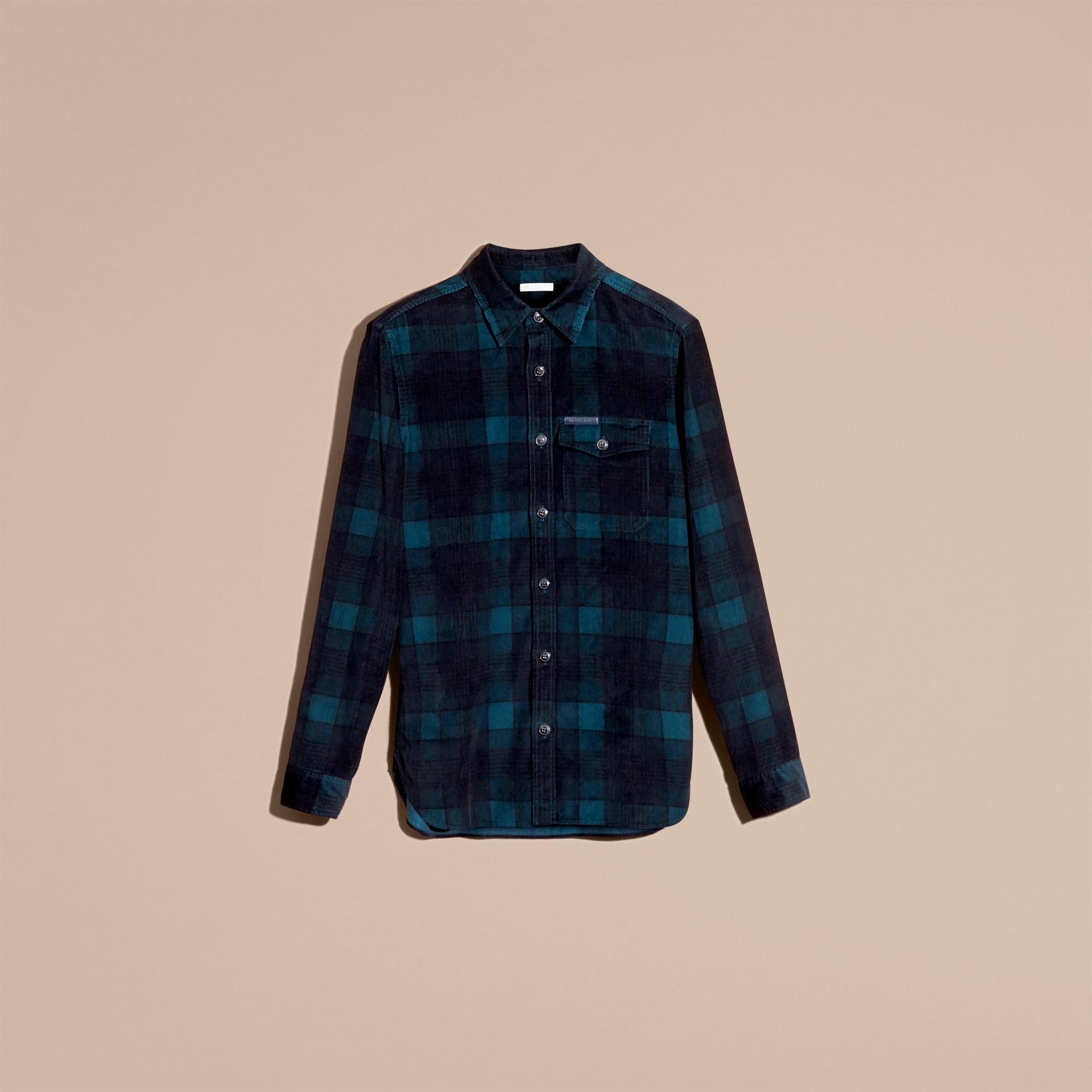 Noir marine Chemise en coton côtelé à motif check - photo de la galerie 4