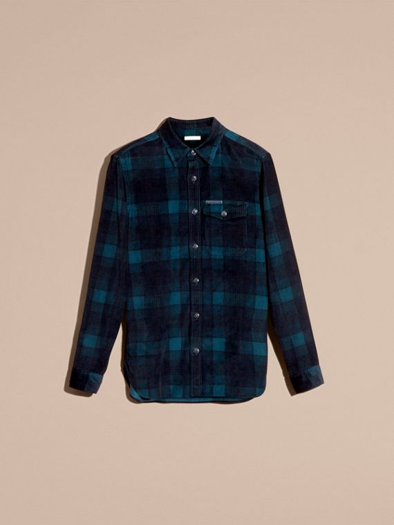 Navy black Check Corduroy Shirt - cell image 3