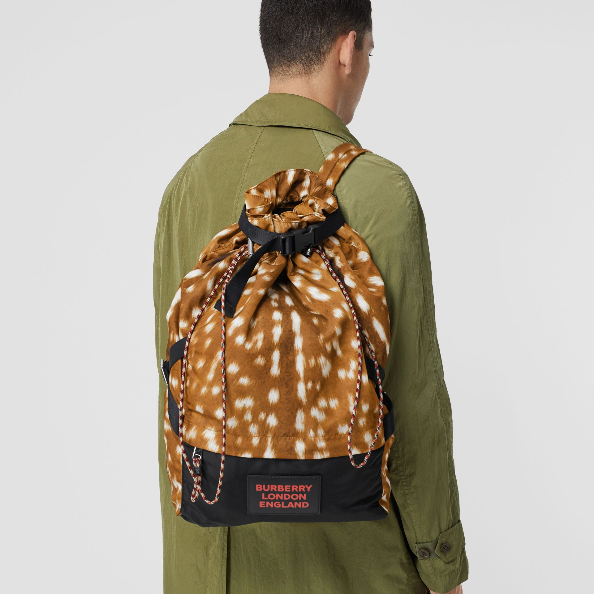 Deer Print Nylon Drawcord Backpack in Tan/white - Men | Burberry Canada - gallery image 2