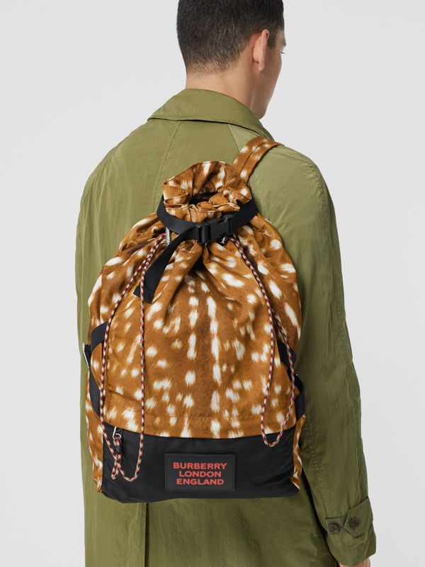 Deer Print Nylon Drawcord Backpack in Tan/white - Men | Burberry Canada - cell image 2