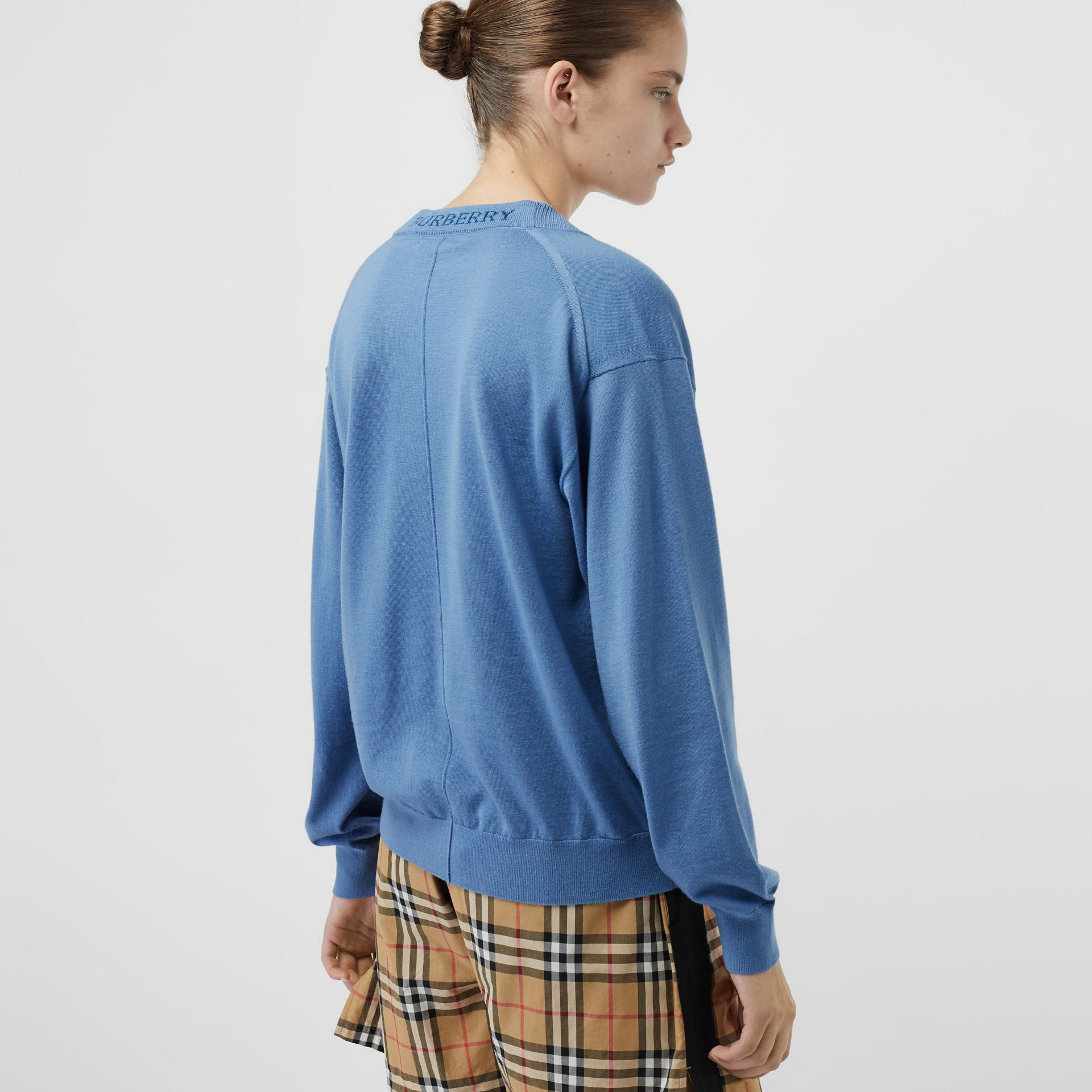 Logo Detail Merino Wool Cardigan in Pebble Blue - Women | Burberry - gallery image 2