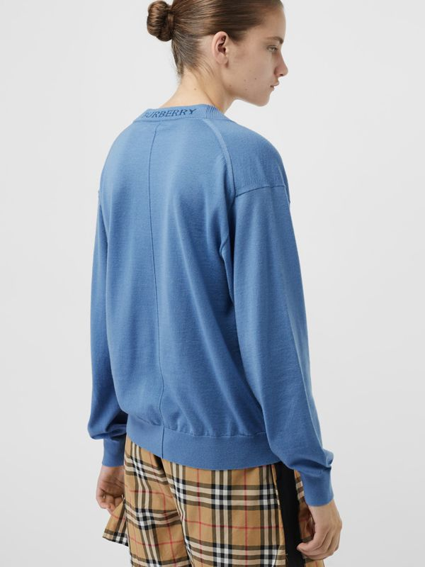Logo Detail Merino Wool Cardigan in Pebble Blue - Women | Burberry - cell image 2
