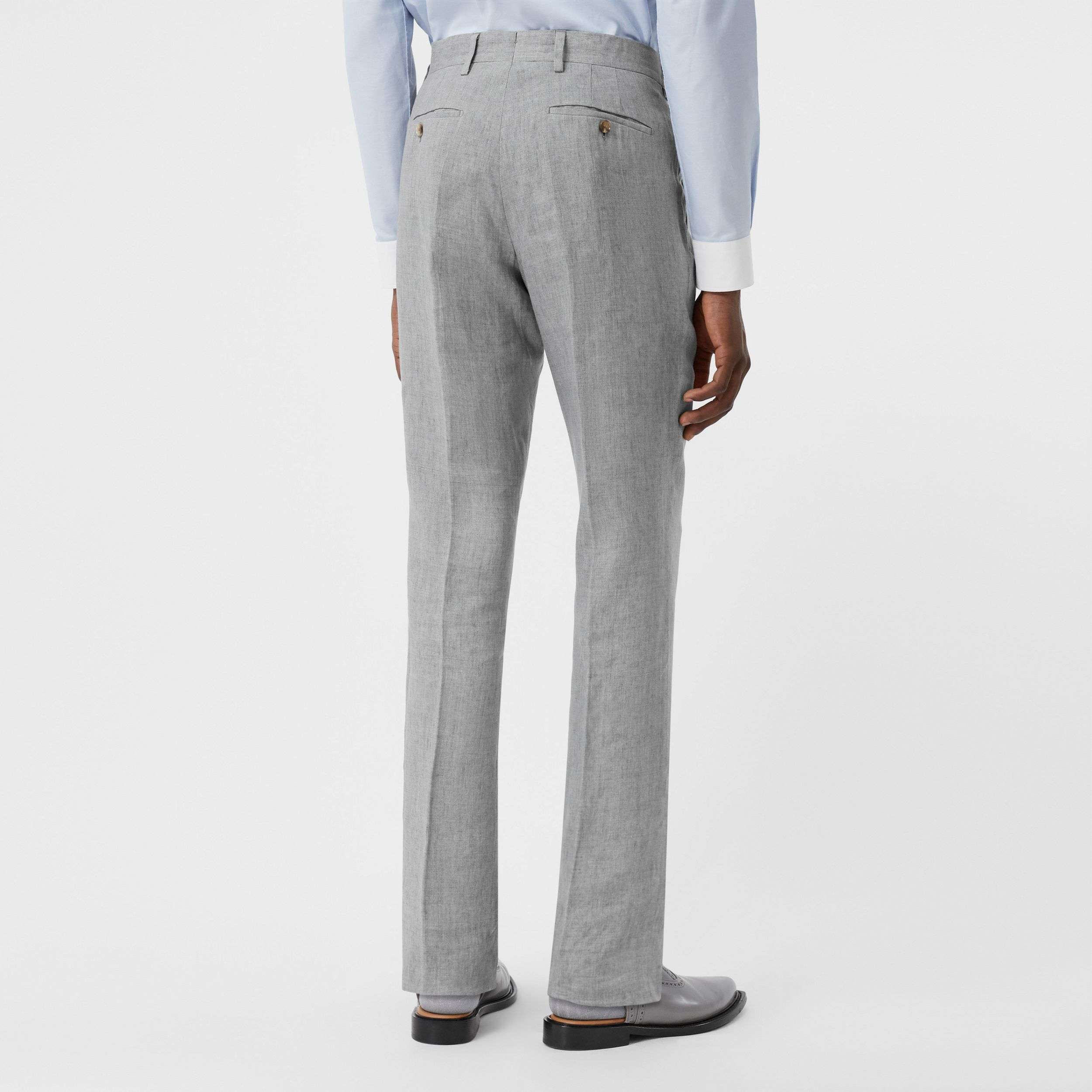 Classic Fit Linen Tailored Trousers in Heather Melange - Men | Burberry - 3