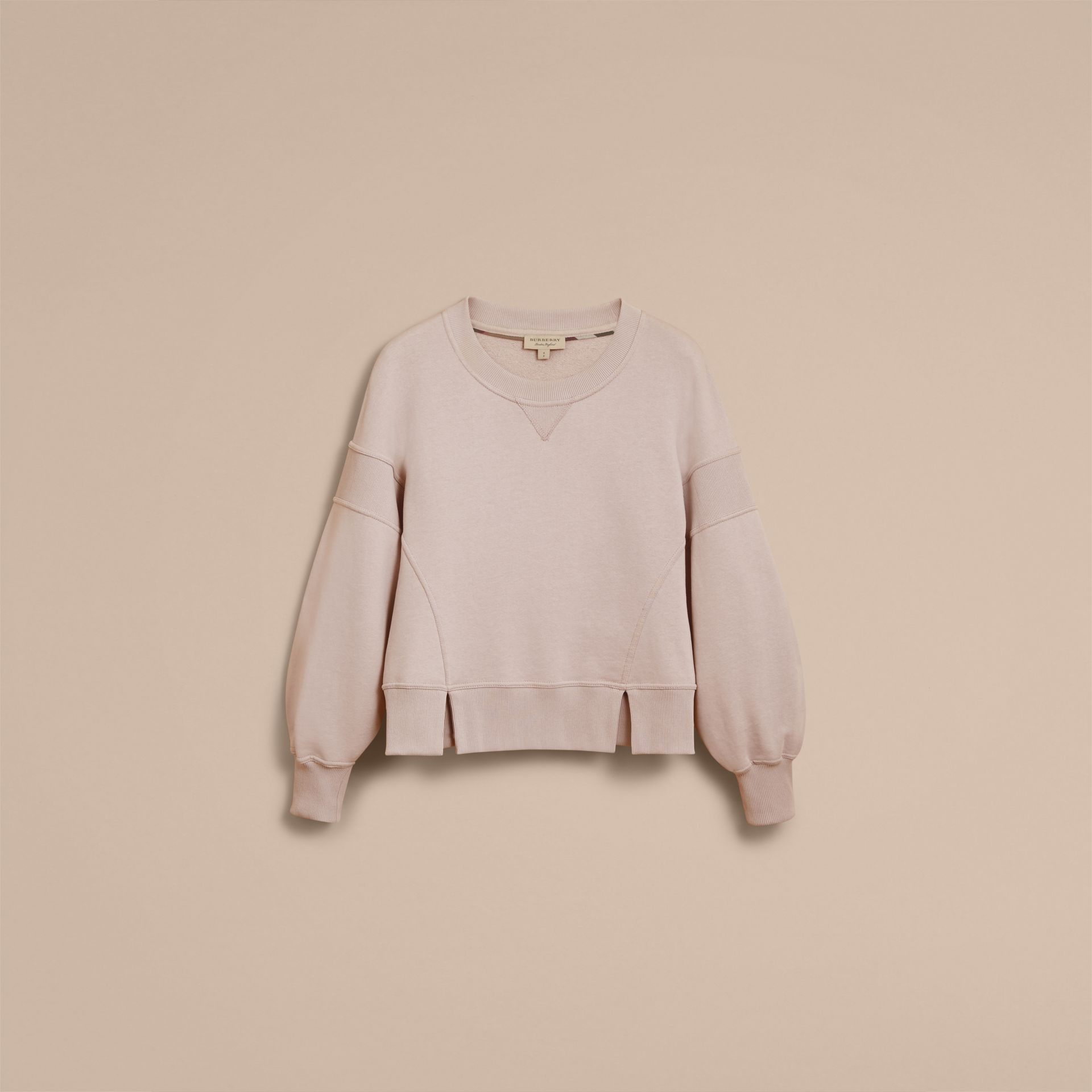 Puffed-sleeve Cotton Panelled Sweatshirt in Pale Mauve - Women | Burberry - gallery image 3