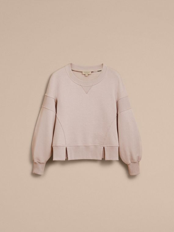 Puffed-sleeve Cotton Panelled Sweatshirt in Pale Mauve - Women | Burberry - cell image 3