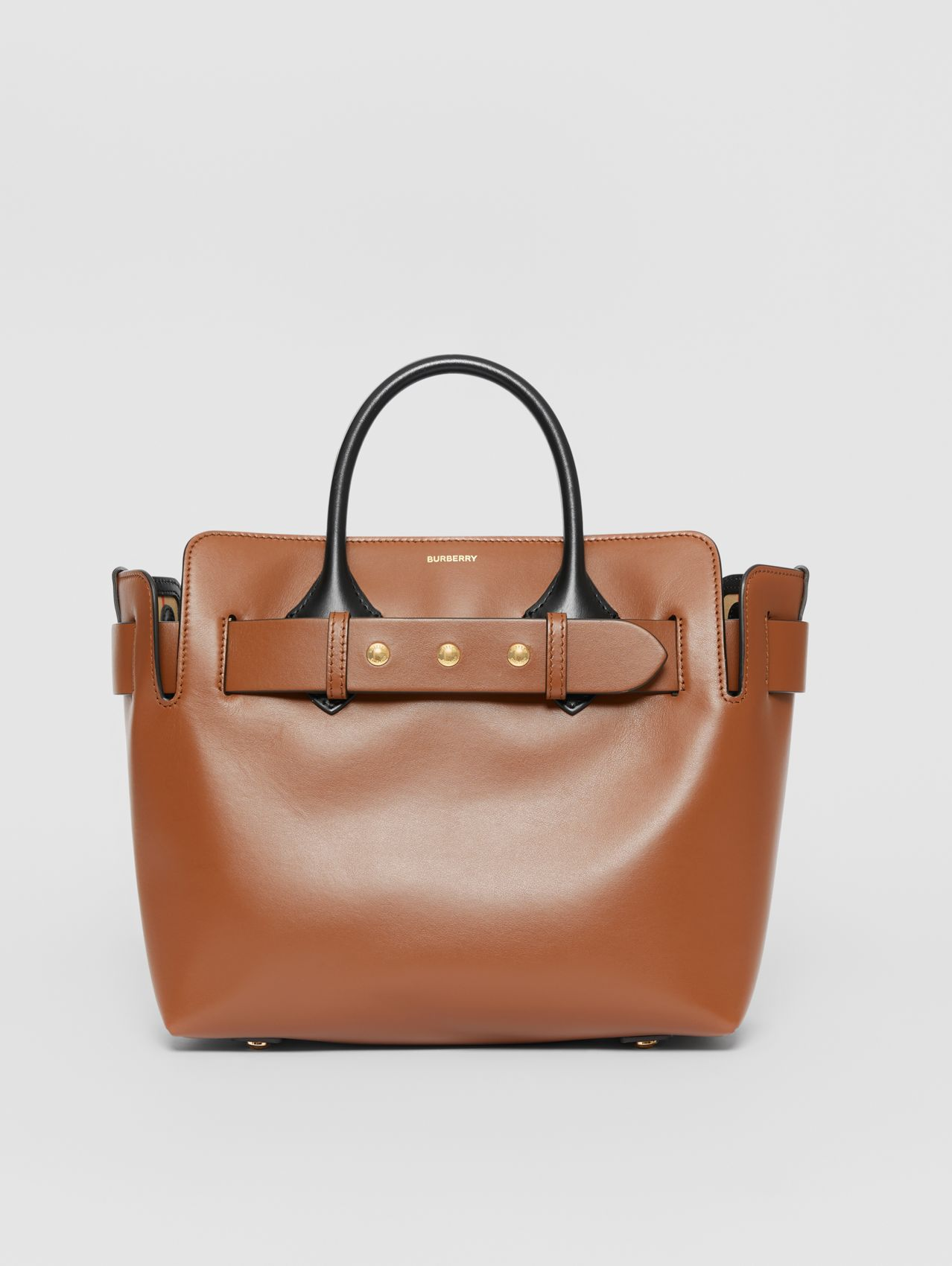 The Small Leather Triple Stud Belt Bag in Malt Brown