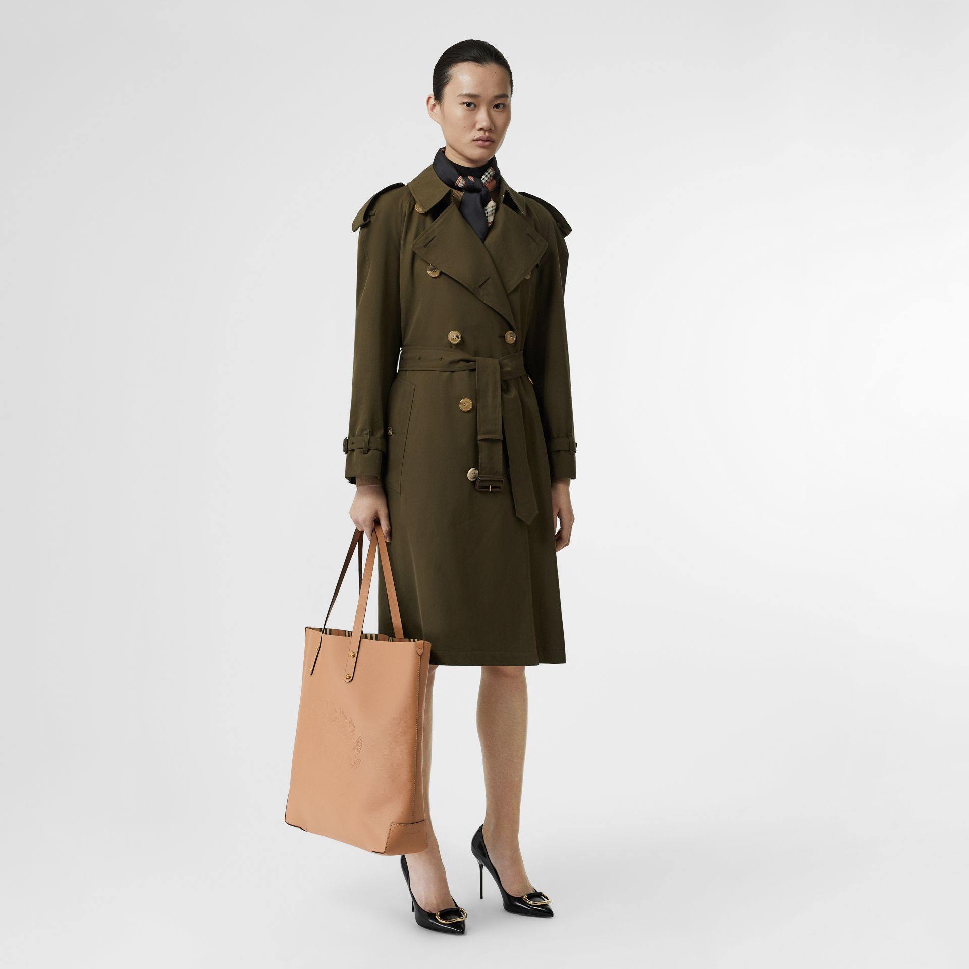 Large Embossed Crest Leather Tote in Light Camel - Women | Burberry - gallery image 5