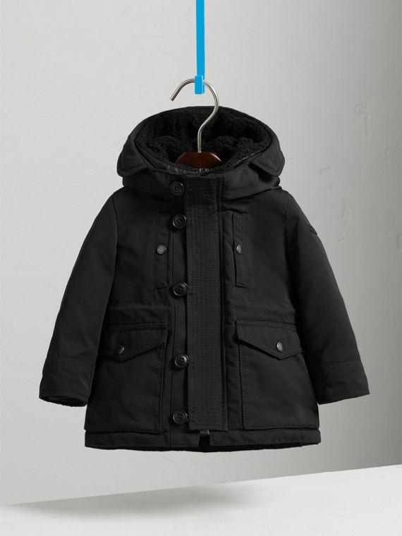 Down-filled Jacket with Faux-fur-lined Hood in Black