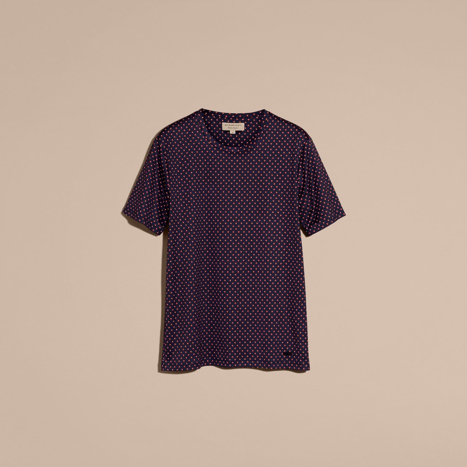 Helles marineblau Baumwoll-T-Shirt mit geometrischem Druckmotiv - Galerie-Bild 4