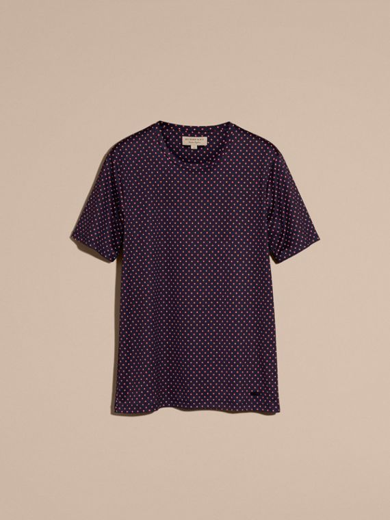 Navy intenso T-shirt in cotone con stampa geometrica - cell image 3