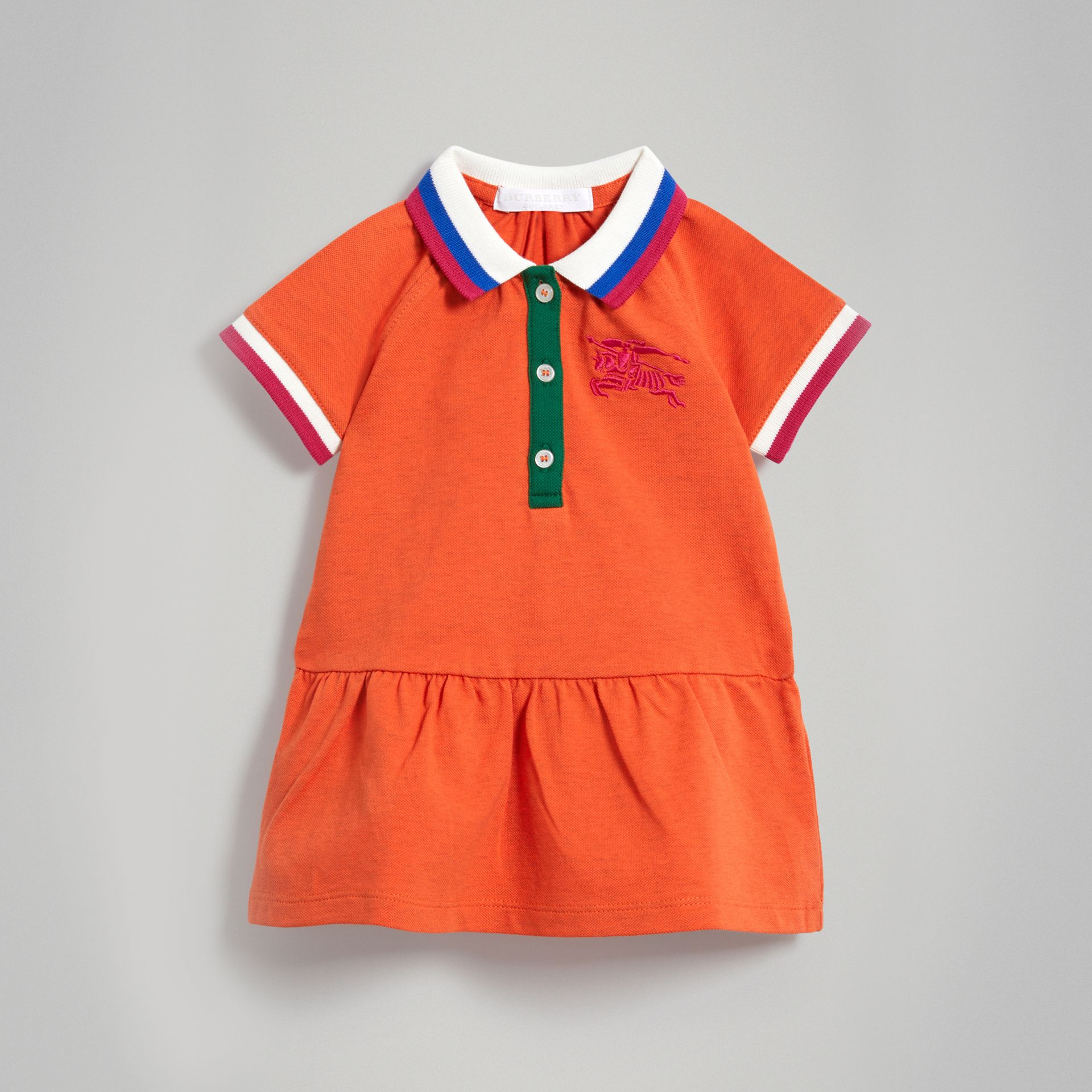 Stretch Cotton Polo Dress in Bright Clementine Melange - Children | Burberry - gallery image 0